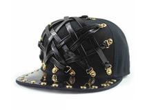 凯维帽业-2015新款韩版时尚潮流皮带街舞平顶帽订做加工 黑色 -PJ101