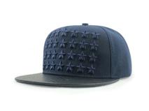 凯维帽业-外贸出口订做皮革帽舌拼接星星绣花平额嘻哈街舞帽 -PJ116