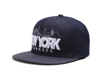 凯维帽业-简约高端黑色绣花印花混搭纽约城市字母嘻哈平板帽-PM085