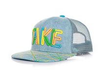 凯维帽业-彩色3D绣花字母平额帽 牛仔布 夏季透气网布拼接 新款-PM112