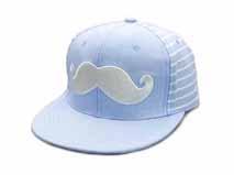 凯维帽业-浅蓝色胡须绣花条纹嘻哈平沿帽OEM贴牌加工定做-PM128