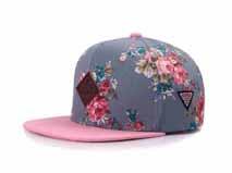 凯维帽业-撞色拼接夏季女士嘻哈平板帽 花朵订制加工 12年诚信通 -PM134