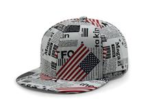 凯维帽业-美国国旗报纸印花平板鸭舌帽订做加工 外贸OEM贴牌-PP106