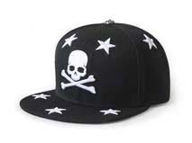凯维帽业-黑色骷髅头星星3D绣花新款平板嘻哈街舞帽订制订做 -PJ138