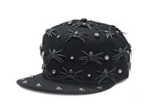 凯维帽业-新款柳丁黑色蜘蛛平沿嘻哈街舞帽 外贸出口贴牌订制 -PJ140