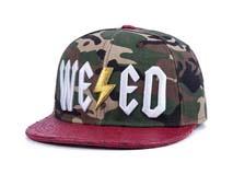 凯维帽业-经典迷彩平沿嘻哈帽 定做 3D绣花LOGO 皮革帽舌拼接-PJ174