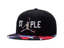 凯维帽业-炫彩帽舌拼接3D绣花字母骷髅图案嘻哈平额街舞帽加工 -PM151