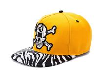 凯维帽业-斑马条纹帽舌拼接平沿嘻哈街舞帽 订制 骷髅头绣花-PJ199