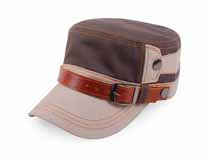 凯维帽业- 加工定制生产男女款新款皮带撞色拼接平顶军帽 春夏 -JM066