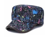 凯维帽业-画笔涂鸦牛仔女士时装平顶帽 军帽ODM贴牌订制生产 -JM069