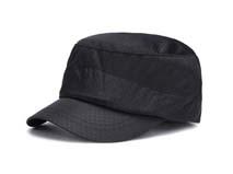 凯维帽业-春夏黑色简约激光小孔透气平顶帽 军帽 老人帽工厂加工 -JT067