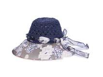 凯维帽业-女士雪纺印花拼接蝴蝶结夏季户外透气遮阳草帽加工-CZ118