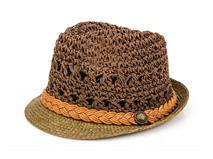 凯维帽业-小辫子撞色拼接春夏新款透气定型草帽 工厂专业ODM定做 -CZ119