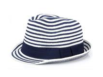 凯维帽业-经典海军蓝白条纹草编定型礼帽OEM贴牌生产定做-CZ122