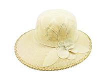 凯维帽业-米黄色女士新款装饰花时装遮阳草帽 广东广州工厂订制-CZ125