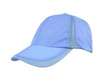 凯维帽业-浅蓝色夏季网布拼接激光透气速干运动帽HT051