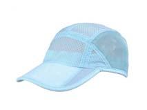 凯维帽业-浅蓝色夏季网布拼接激光透气速干运动帽HT052