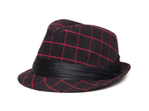 凯维帽业-装饰带靓丽格子定型草帽DM060