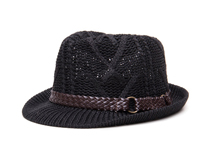 凯维帽业-欧美风黑色简约粗线针织定型帽 12年诚信通 男女款