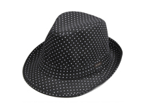黑白视频体育直播-黑色简约点点定型礼帽 春夏 DM064