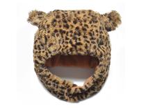 凯维帽业-儿童豹纹下巴带冬天保暖风雪帽定做定制RH269