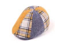 凯维帽业-儿童时尚撞色拼接格子鸭舌帽定做RM097