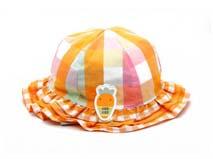 凯维帽业-女孩折边时尚格子边帽定做