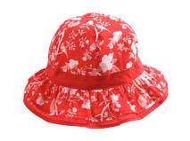 凯维帽业-儿童红色鸟语花香款边帽定做