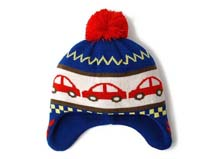 黑白视频体育直播-儿童毛毛球卡通汽车针织帽定做