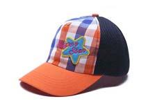 凯维帽业-儿童星星撞色拼接格子棒球帽定做RM170