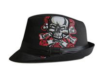 凯维帽业-2015韩版骷髅头新款 定型礼帽
