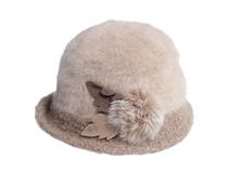 凯维帽业-女士拼色装饰球秋冬保暖时装帽 贝雷帽