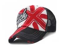 凯维帽业-绣花字母网布拼接透气米字棒球帽BM189