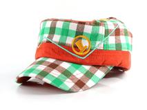 凯维帽业-儿童绿色格子平顶帽订做 RM197
