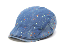 黑白视频体育直播-蓝色牛仔画笔涂鸦点点时装鸭舌帽EM065