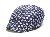 黑白视频体育直播-蓝白色复古印花鸭舌帽 简约 小清新款 EM067
