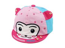 凯维帽业-婴儿新款点点撞色拼接卡通动物绣花AM045