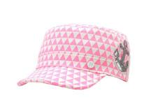 凯维帽业-几何格子绣花时装平顶军帽加工订制JM076