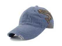 凯维帽业-洗水做旧纯色精美绣花六页遮阳棒球帽BM224
