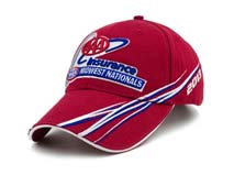 凯维帽业-红色高端3D绣花六页遮阳棒球帽订制BM250
