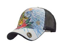 凯维帽业-新款春夏网眼透气印花水晶棒球帽BM259