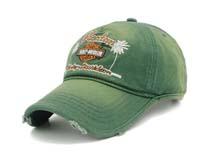 凯维帽业-绿色绣花LOGO洗水做旧春夏遮阳棒球帽BM269