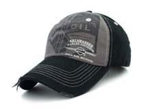 凯维帽业-黑色印花字母洗水做旧六页棒球帽BM274