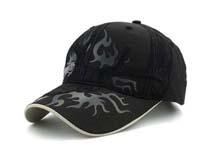 凯维帽业-黑色高端绣花印花六页遮阳棒球帽 鸭舌帽BM282