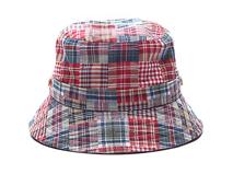 凯维帽业-简约儿童时尚格子户外遮阳桶帽边帽RM248