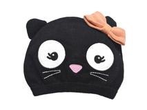 凯维帽业-儿童黑色可爱猫咪蝴蝶结毛线针织套头帽RM253