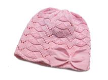 凯维帽业-新款小女孩蝴蝶结针织毛线套头帽RM254