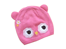 黑白视频体育直播-小女孩可爱绣花针织帽定做RM258