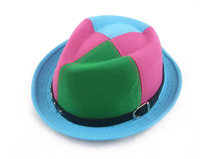 凯维帽业-儿童简约撞色拼接皮带儿童定型礼帽 爵士帽订做RM267