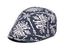 凯维帽业-蓝白复古印花鸭舌帽 急帽EM084